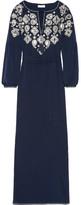 Tory Burch Lisette Embellished Voile Kaftan - Midnight blue