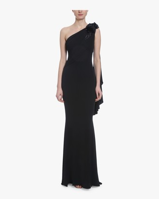 Badgley Mischka Asymmetrical Draped Embroidered Gown