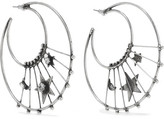 Dannijo Fynn Oxidized Silver-plated Swarovski Crystal Hoop Earrings - one size