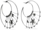 Dannijo Fynn Oxidized Silver-plated Swarovski Crystal Hoop Earrings