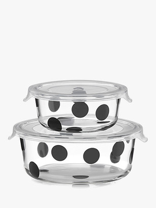 Kate Spade Deco Dot 2Pc Round Food Storage Containers