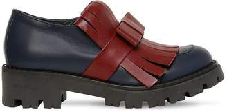 Marni Junior LEATHER LOAFERS W/ FRINGE & BOW