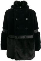 Sacai panelled faux-fur coat
