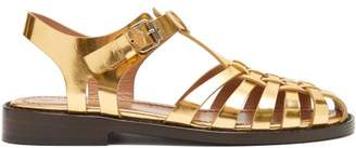 Marni Woven Metallic-leather Sandals - Womens - Gold