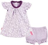 Kushies Lavender Floral Angel-Sleeve Dress & Bloomers - Infant