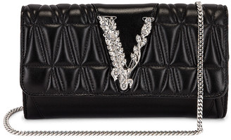 Versace V Leather Crossbody Bag in Black & Palladio | FWRD