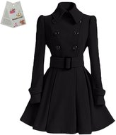 Donalworld Womens Trench Coat Doue-Breasted Belted Long Thick Jacket