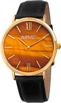 August Steiner Men's Genuine Tiger Eye Stone Dial Watch, 44mm
