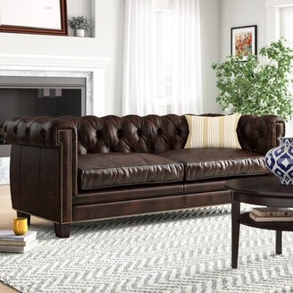 Lariat Stationary Leather Chesterfield Sofa Charlton Home