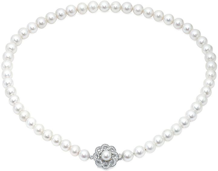 Crislu Silver & Platinum 7-8Mm Pearl & Cz Flower Necklace