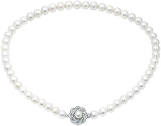 Crislu Silver & Platinum 7-8Mm Pearl & Cz Flower Necklace