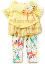 Rare Editions Baby Girls 12-24 Months Striped Flower-Appliqued Top and Floral-Printed Leggings Set