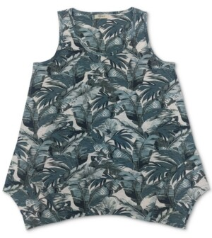 Style&Co. Style & Co Printed Handkerchief-Hem Tank, Created for Macy's