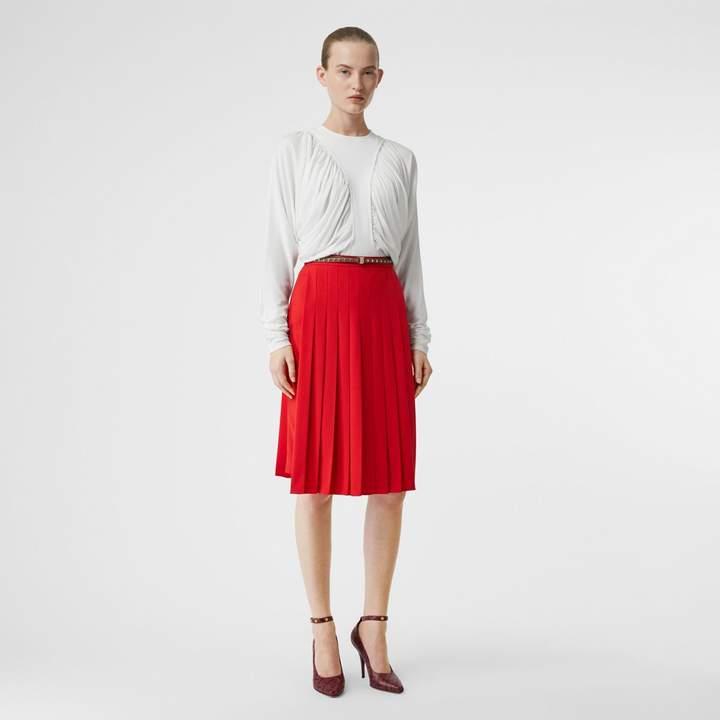 Burberry Stretch Cady Pleated Skirt