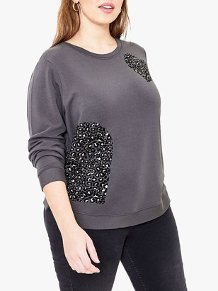 Oasis Curve Animal Flocked Heart Sweat Top, Dark Grey