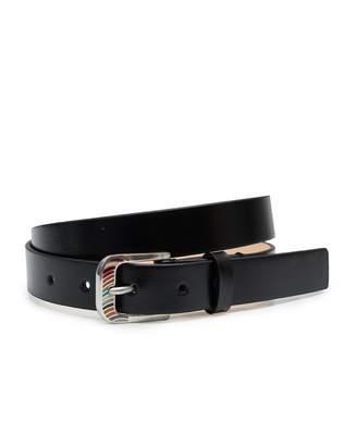 Paul Smith Leather Swirl Detail Buckle Belt Colour: BLACK,