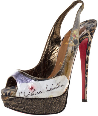 Christian Louboutin PVC Eco Trash Peep Toe Platform Slingback Sandals Size 37