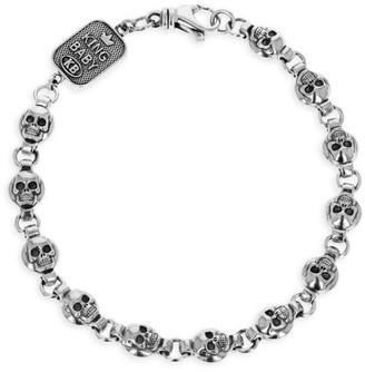 King Baby Studio New Classics Sterling Silver Round Skull Chain Bracelet
