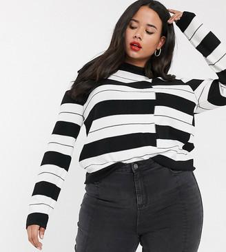 Urban Bliss Plus high neck jumper in stripe