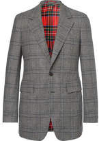 Burberry Prince Of Wales Checked Wool Blazer - Gray