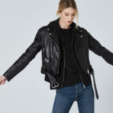 DSTLD Leather Biker Jacket in Black