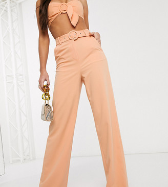 4th + Reckless Tall exclusive wide leg trouser with belt in sherbet orange