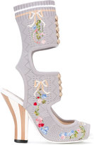 Fendi floral embroidered knit sandals - women - Calf Leather/Leather/Polyamide/rubber - 35
