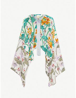 Loewe x Paulas denim-trimmed waterlily-print silk jacket