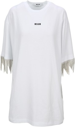 MSGM Embellished Fringed T-Shirt Dress