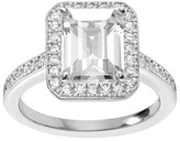 Journee Collection 1 1/2 CT. T.W. Emerald-cut Cubic Zirconia Halo Engagement Prong Set Ring in Sterling Silver - Silver
