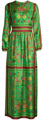 Tory Burch Floral Silk Scarf Maxi Dress