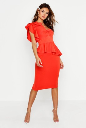 boohoo One Shoulder Twist Front Peplum Midi Dress
