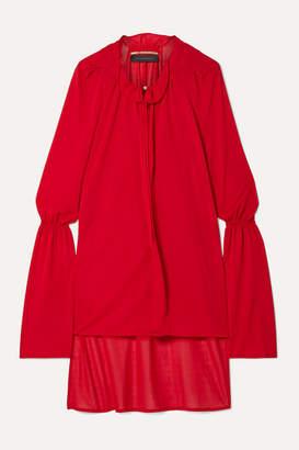 Roland Mouret Otto Asymmetric Herringbone Jersey Blouse - Red