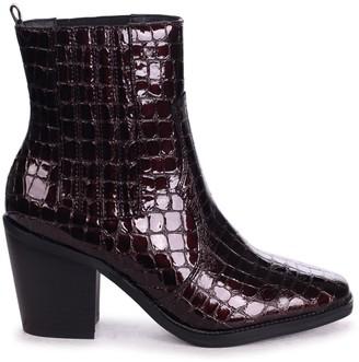 Linzi EVITA - Burgundy Patent Croc Square Toe Cowboy Boot