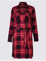 M&S Collection Checked Long Sleeve Fuller Bust Shirt Dress