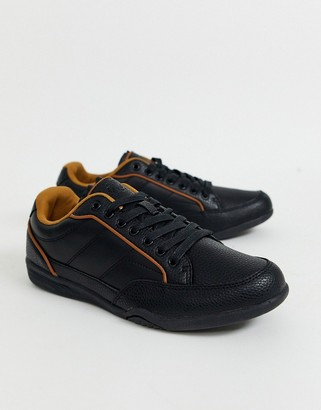 Burton Menswear faux leather trainer in black