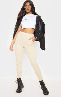 PrettyLittleThing Stone Tweed Check Skinny Trousers