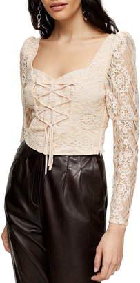 Topshop Lace Corset Crop Blouse