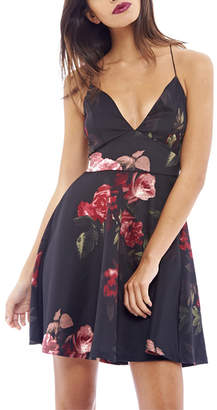 AX Paris Women's Special Occasion Dresses Black - Black & Red Floral Fit & Flare Dress - Women