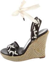 Diane von Furstenberg Printed Canvas Wedge Sandals