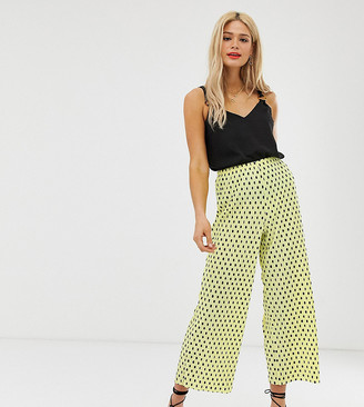 Asos Tall DESIGN Tall plisse spot culotte pants-Yellow