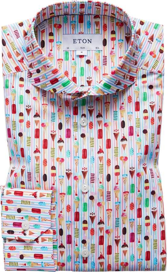Eton Slim Fit Ice Cream Print Dress Shirt