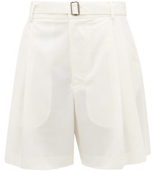 Edward Crutchley Belted Pleat-front Wool-crepe Shorts - Ivory