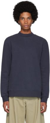 Sunspel Navy Cotton and Cashmere Fleece Sweatshirt