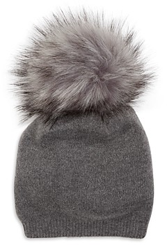 Kyi Kyi Cashmere Faux Fur Pom Pom Hat