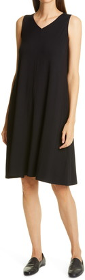 Eileen Fisher Sleeveless V-Neck Flare Dress
