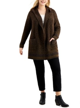 Style&Co. Style & Co Plus Size Printed Hooded Open-Front Sweater, Created for Macy's