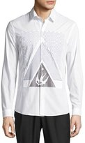 McQ by Alexander McQueen Bird-Print Woven Shirt, Optic White
