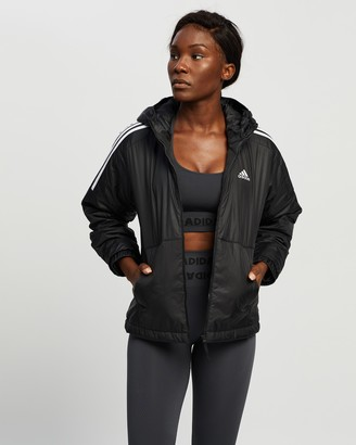 adidas Women's Black Coats - Essential Insulated Hooded Jacket - Size XS at The Iconic