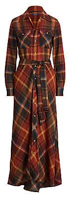 Polo Ralph Lauren Women's Plaid Wool Midi Shirtdress